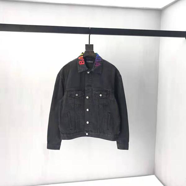 19ss Son Sonbahar ve kış BLCG Kovboy ceket arka harflerle işlemeli Alfabe Denim Ceket Moda Ceket ZDLp0713.