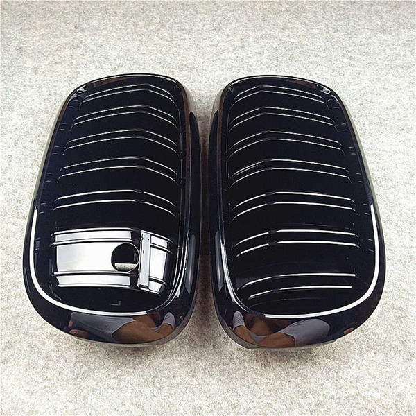 top popular Front Air Intake Grilles with Night vision For X5 F15 X6 F16 Glossy Black Car Bumper Grille 2021