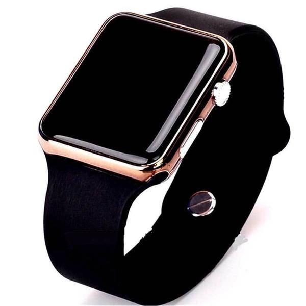 Moda Kare Ayna Yüz Silikon Band Dijital İzle Kırmızı LED Saatler Metal çerçeve Kol Spor Saat Saat 6 renkler