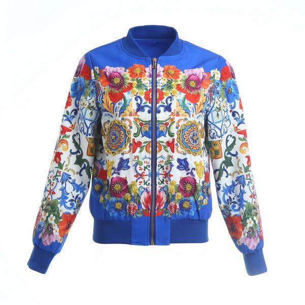 New Women's Floral Print Heavy Industry Beaded Long Sleeve Jacket Baseball Jacket