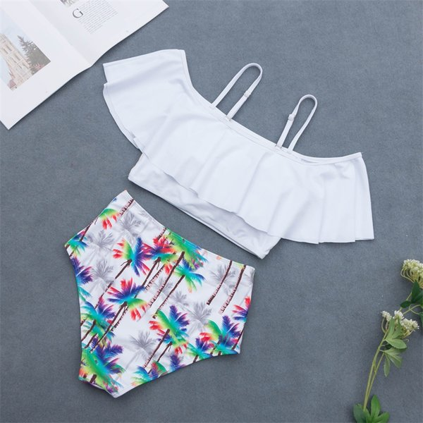 Sexy One shoulder ruffle flounce2 piece swimsuit designer swimwearwomen s bikini 2019 crop top bikini with high waist bottom set