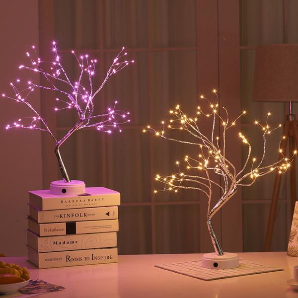 Style bonsaï décoration de noël nuit de nuit lumière contrôle tactile commutateur de commande LED arbre lumières pour la décoration de table de fête de mariage