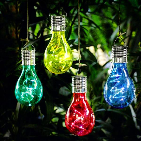 LED Solar Lamba Kamp Çadırı Güneş Işık Lambası Işık Sensörü Ile Açık Bahçe Balıkçılık Için Güneş Enerjili Asılı Fenerler Işıkları