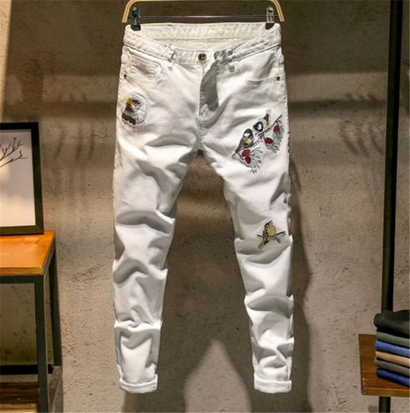 Çiçek Ve Kuş Nakış Baskı Erkek Tasarımcı Kot Moda Bahar Beyaz Uzun Sıska Erkek Jean Pantolon