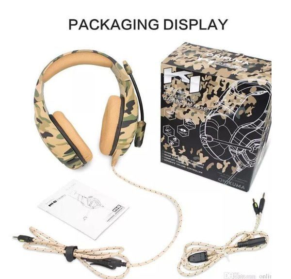 PUBG Fortnight ONIKUMA K1-B Professional Headset For Esports Camouflage PS4 Bass Gaming Headphones Game Earphones for PC New Xbox One Tablet
