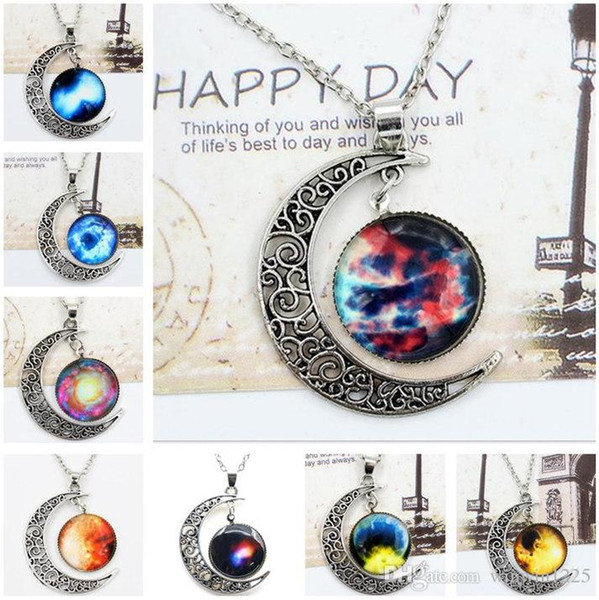 2019 New Vintage starry Moon Outer space Universe Gemstone Pendant Necklaces Mix Models