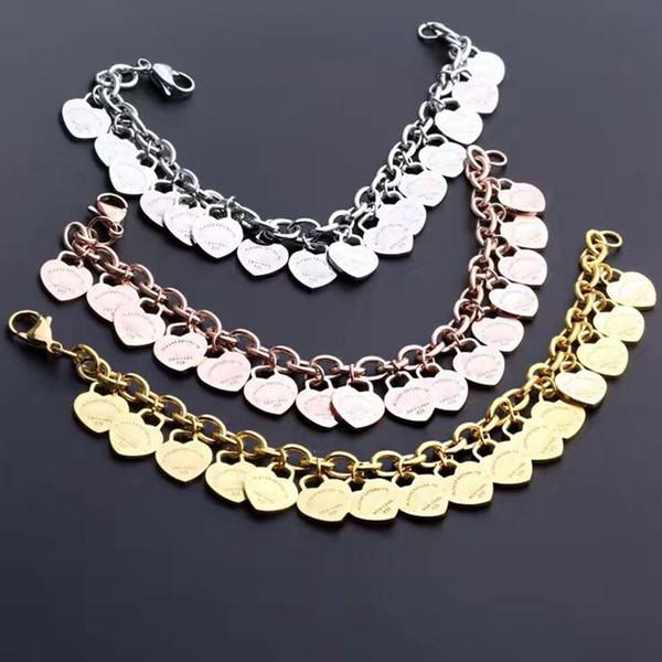 Jóias de titânio de aço 316L amor para sempre T carta multi-coração pulseira T 18 K subiu de ouro pulseira de espessura para as mulheres em forma de coração presente da jóia