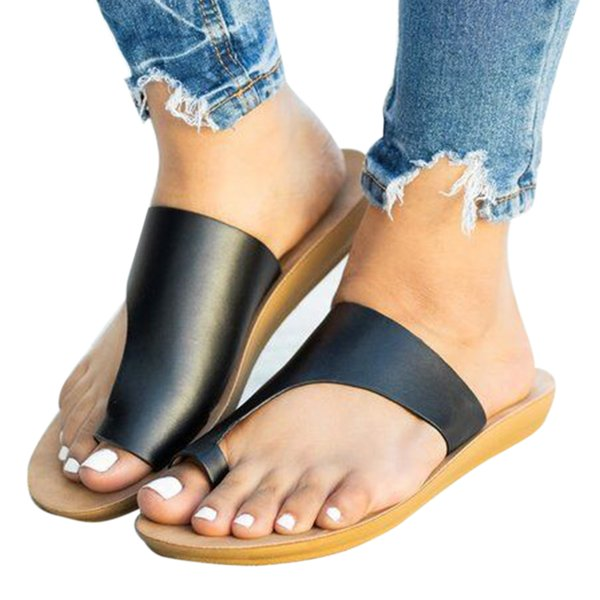 Коррекция пальца ноги Открытый Одежда Простые Твердые Летняя Мода Комфортный Отдых Искусственные ПУ Женщины Тапочки Пляж Плоским Дном Повседневная