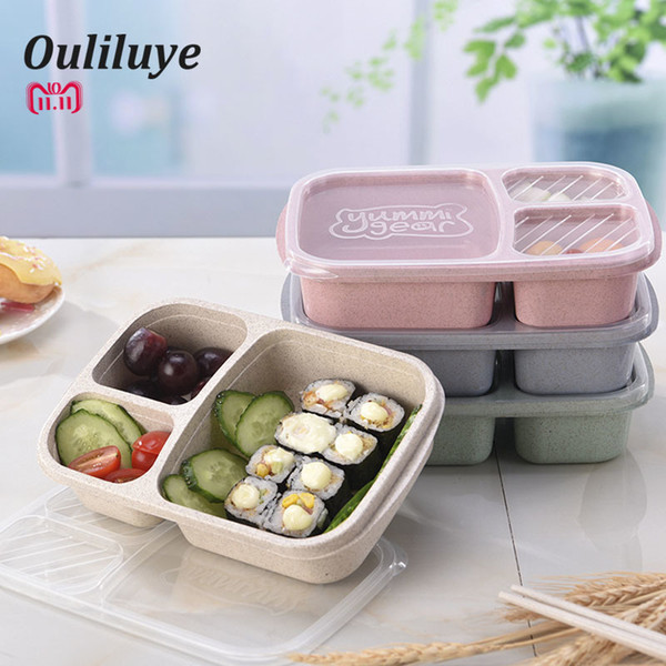 Wheat Straw Food Container Lunch Box Children Kids School Portable Bento Box Fit Hiking Camping Kitchen Accessories Dinnerware C19021301