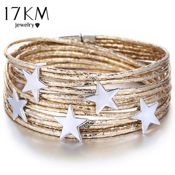 17KM 3 Color Star Multiple Layers Bracelets For Women Vintage Magnetic Wrap Bracelets Charms 2019 New Fashion Jewelry Femme