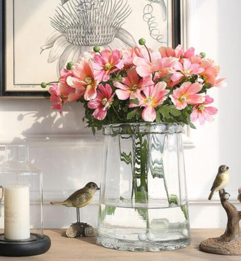 European style simple round glass vase Creative transparent flower arrangement Japanese style living room decoration overall floral
