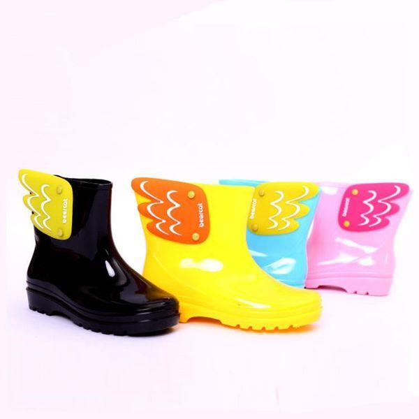 Hot Sale-Rain Boots Cute Boy Girl Baby Kids Candy Color Angel with Wings Waterproof Shoes 2016 New kinderen regenlaarzen Cute Lovely