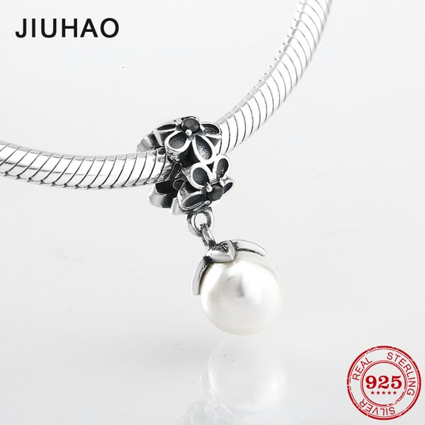 2018 Fashion 925 Sterling Silver Shell Pearl flowers Fine Pendants Fit Original Pandora Charm Bracelet Jewelry making