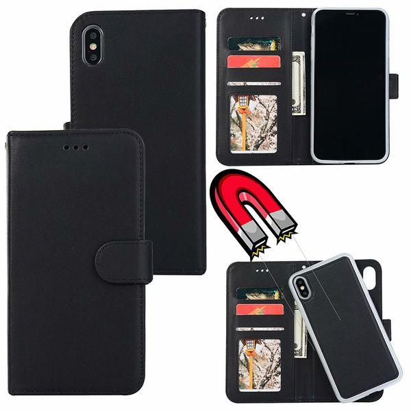 Para iPhone XS Max XR X 8 PLUS 2 en 1 Funda de cuero desmontable extraíble magnética Funda de cuero para iPhone 7 6s Samsung S10 más S10e S9