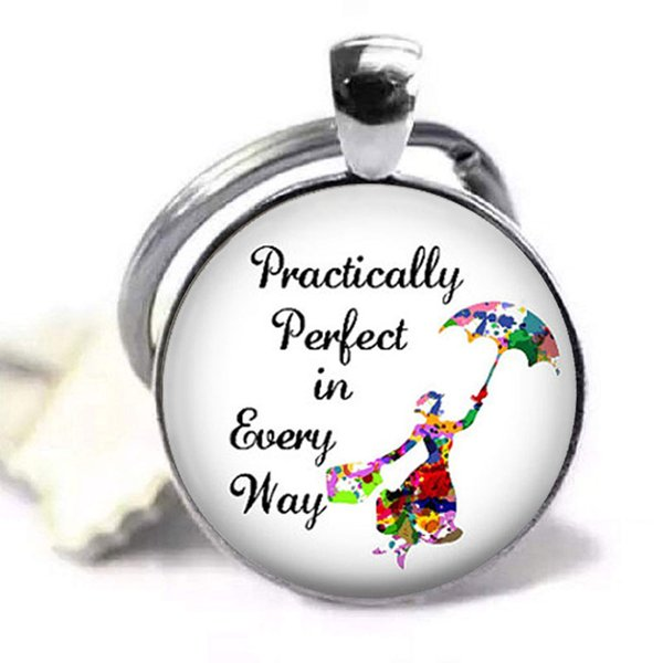 New Arrival Mary Poppins Keychain Movie Poster Keyring Silver Glass Dome Key chains Quote Keyrings Round Photo Jewelry