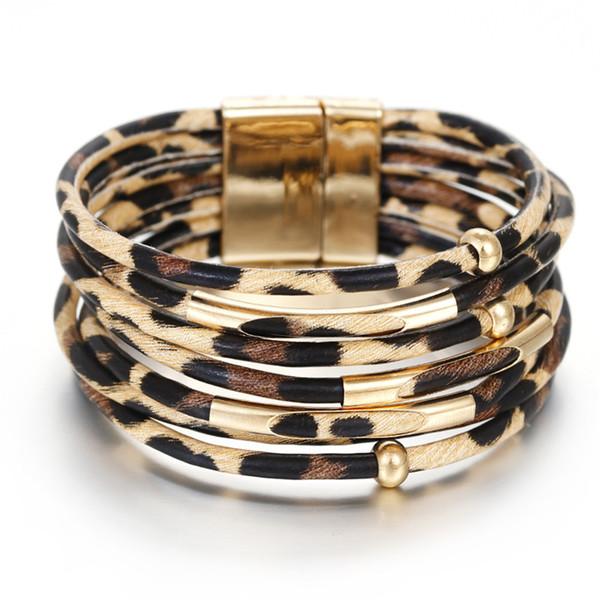 2019 Leopard En Cuir Bracelets Pour Les Femmes De La Mode Fermoir Magnétique Bracelets Bracelets Élégant Multicouche Enveloppent Large Bracelet Bijoux