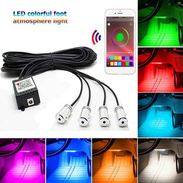 4pcs / set 12V RGB LED striscia senza fili Bluetooth APP telecomando Car Interior Atmosfera lampada stroboscopica Decor Luci Car Styling
