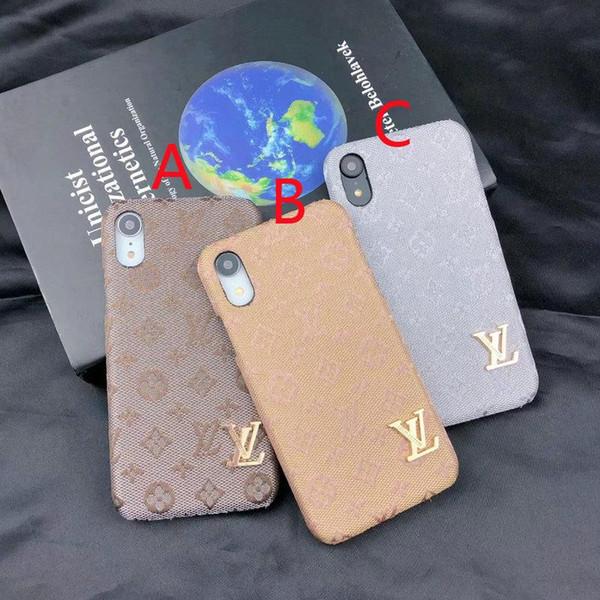 Lettre Motif De Broderie Pour iPhone X XR XS MAX Mobile Coque En Métal Logo Logo Design Pour iPhone 7 Plus 8 Plus 6 Plus 6 7 8 Cas De Protection Drop