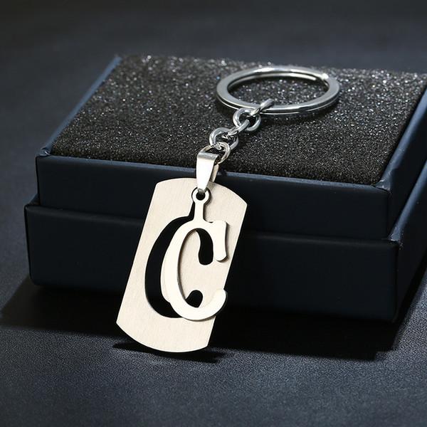 TEH DIY A-Z letras do metal Chaveiros Presentes Bag Mulheres Homens Anéis 26 Letters chave Key Titular Jóias Trendy Party Accessories