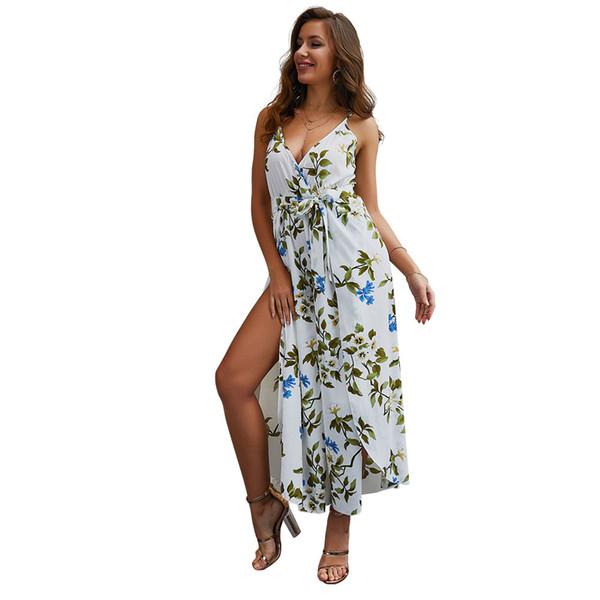 2019 Verano Mujer Jumpsuit Designer Escote en v Split Floral Impreso Correas Monos para Lady Capris suelta Casual Mamelucos Ropa de mujer