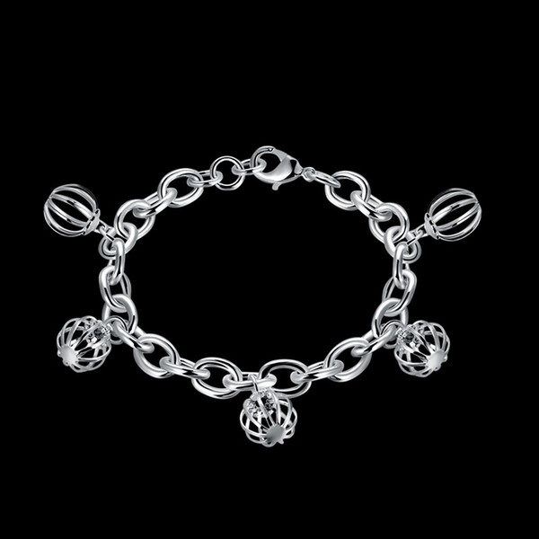 JEXXI Antique 925 Sterling Silver Charm Bracelet & Bangle with Fashion Hollow Ball Women Wedding Bridal Valentine's Day Gift