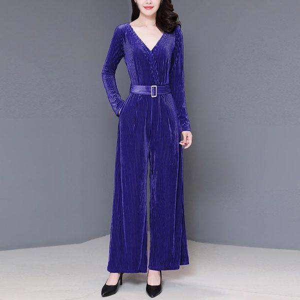 Women Blue And Red Velvet Playsuits Long Sleeve V-Neck Slim Long Jumpsuit Solid Colors Wide Leg Romper