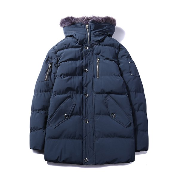 Russia style men polyester cotton padding overcoat detchable hat big fur winter clothing