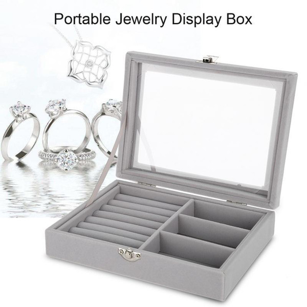 Portable Velvet Jewelry Display Box Tray Holder Storage Organizer Earring Ring Bracelet Makeup Tool Gray Carring Case With Glass T190629