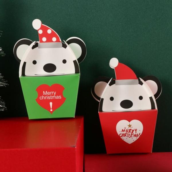 Mela scatola Buon vigilia di Natale scatola di imballaggio di cartone 14x7.5x6cm 5pcs verdi Sveglio piccolo orso di Natale caselle di doni figli rossi /