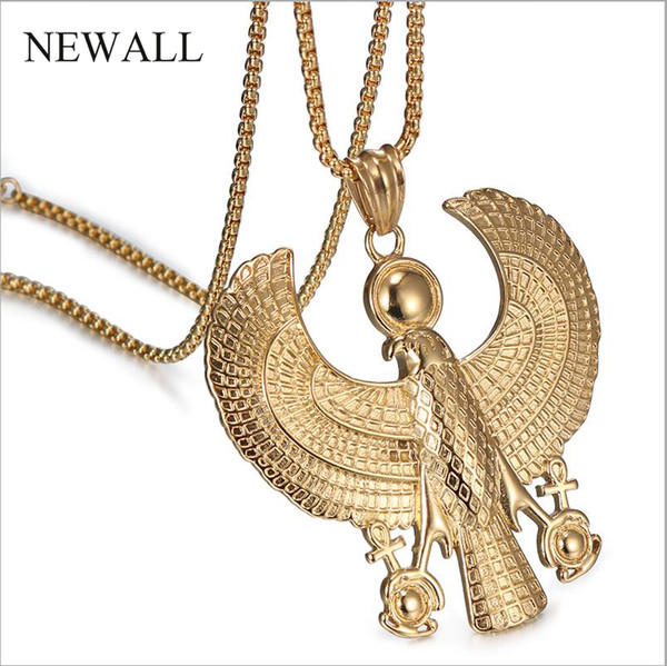 Newall stainless steel Blessed Virgin Horus Eagle gold men Pendant necklace Ancient Egyptian Fashion Hip hop Jewelry 60cm chain