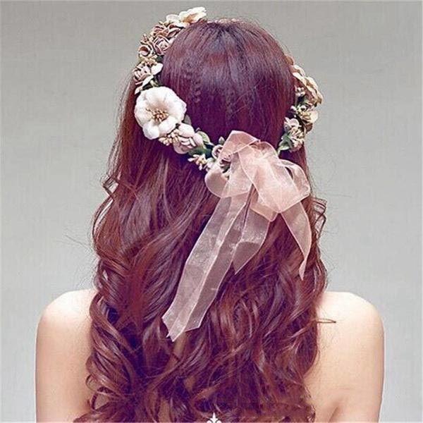 2019 Hot Flower Crown Headband Da Videira Do Rattan Floral Nupcial Do Casamento Do Cabelo Cocar de Natal Feito À Mão Headpiece Meninas Do Cabelo Accessorie