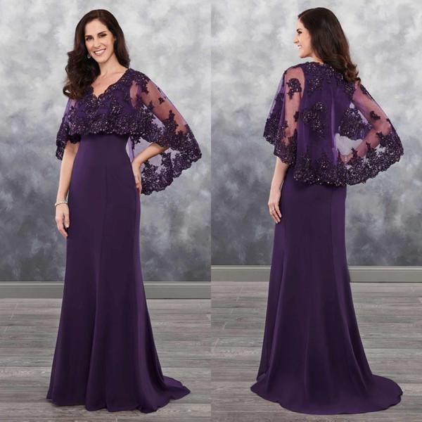 Compre Vestidos De Fiesta De Sirena De Color Morado Oscuro Sweep Tail Madre Del Vestido De Novia Con Chaqueta De Encaje Vestidos De Noche Con Cuello