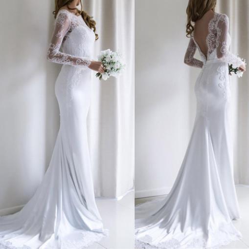 Abito da sposa a sirena 2019 Abito da sposa a maniche lunghe in chiffon e raso e pizzo con cinture Spazzola treno vestido de noiva