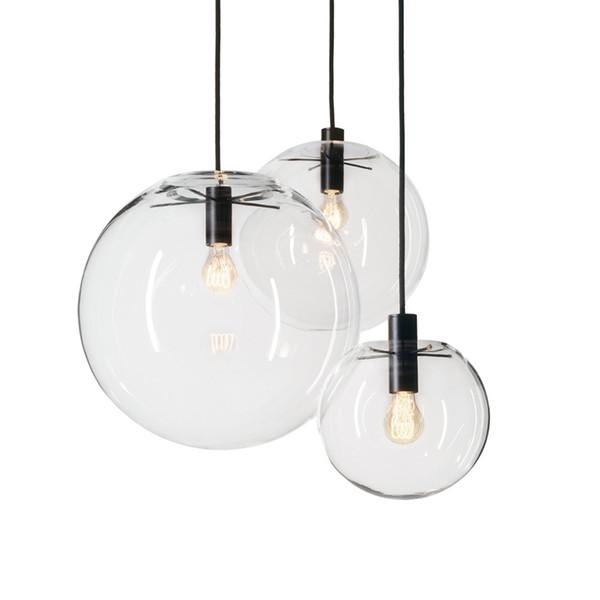 Modern Glass Led Pendant Lights Lustre Suspension Pendant Lamp Transparent Spherical Hanglamp Bedrooms Parlor Hanging Lamp