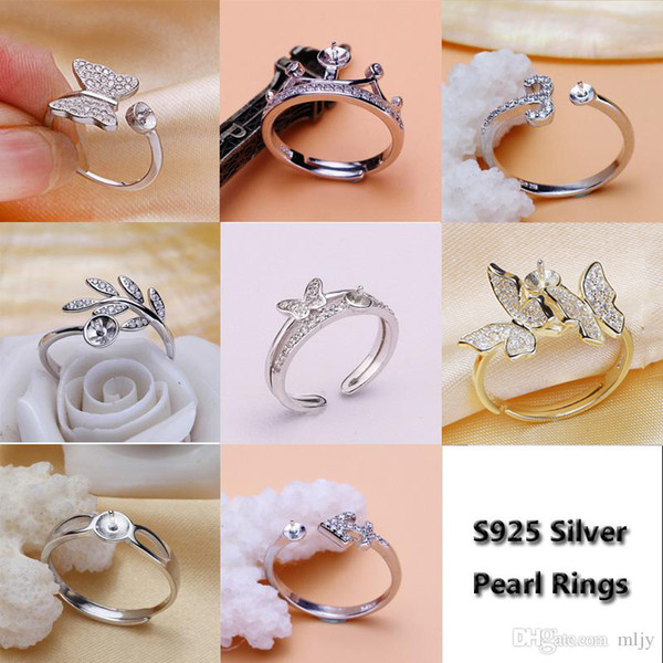 best selling Shiny!Pearl Ring Setting Zircon Solid Silver 925 Rings Setting Pearl Rings Mounting Ring Blank DIY Jewelry DIY Gift 8 Styles