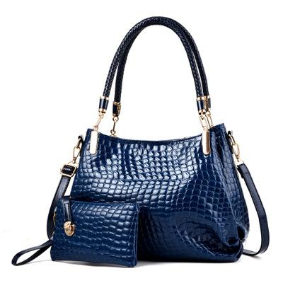 New sale crocodile pattern patent leather female bag mother bag shoulder slung mobile mother bag bright leather handbag