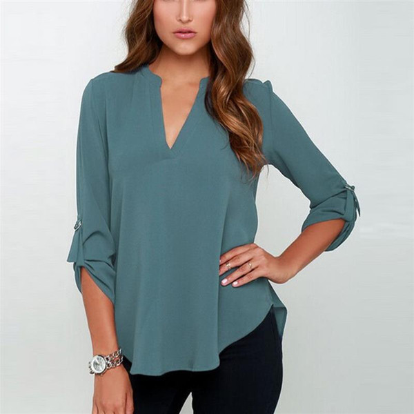 Fashion Women Chiffon Blouses V Neck T Shirt Autumn Sexy Work Casual Tops Womens Plus Size Tee Solid Clothing Wholesale