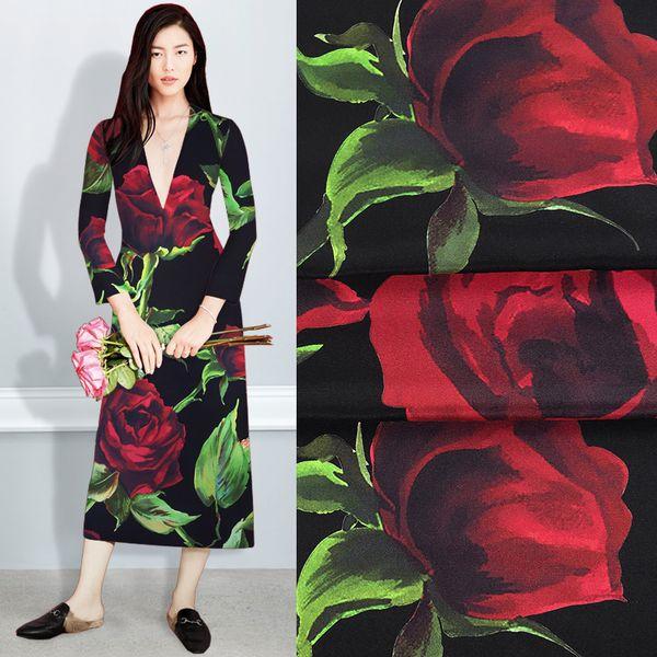 El 108CM 28MM rojo grande de la impresión de Rose estiramiento Negro Crepe de seda pesada tela de la blusa del vestido de primavera y verano camisa falda pantalones JH088
