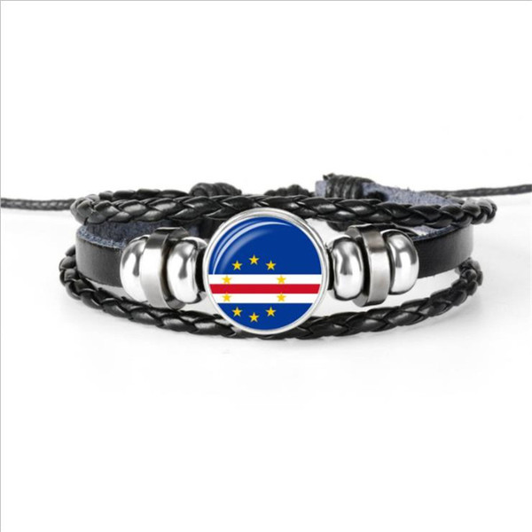 Cape Verde National Flag World Cup Football Fan Time Gem Glass Cabochon Bracelet Leather Rope Bead Women Men Casual Jewelry Accessories Gift