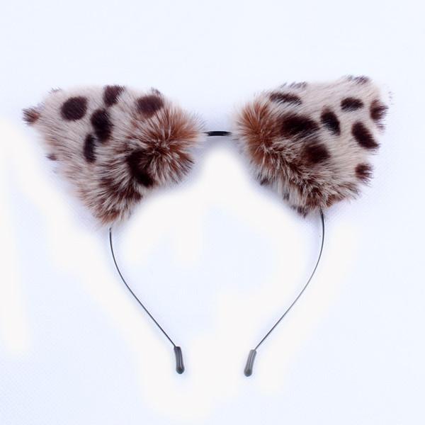 Korean Cartoon Cosplay Anime Show Headband Plush Leopard Cat Fox Ears Fascinator Cute Women Girls Fanshion Hair Accessories C19021601