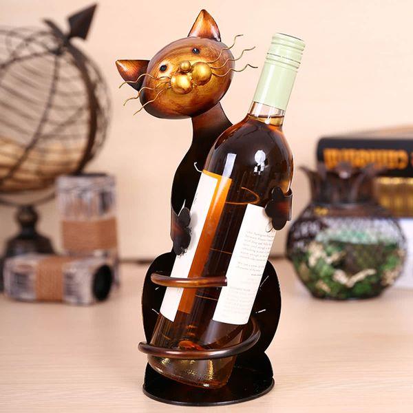 Cat Wine Rack Wine Bottle Holder Shelf Metal Sculpture Wine Stand Home Decoration Storage shelves Handicrafts Crafts Christmas Gift