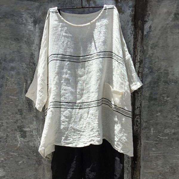 Camisa de lino de las mujeres de moda para mujer blusas suelta de algodón de lino de la raya más el tamaño diario camisa ocasional blusa femenina Tops chemise femme