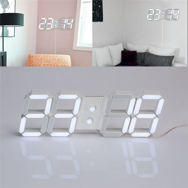 USB relojes de pared casa horloge murale le3D Modern Digital LED Home Wall Clock Timer 24/12 Hour Display
