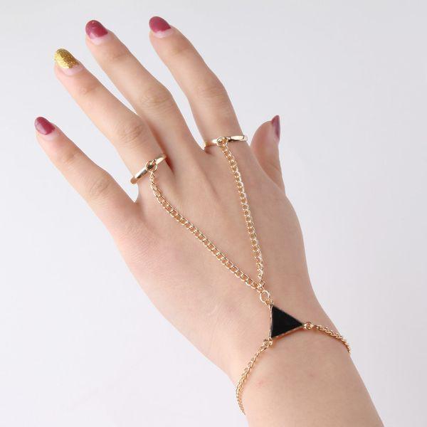 Women Punk Finger Ring Bracelet Triangle Conjoined Bracelet Hand Back Chain Jewelry C19022301