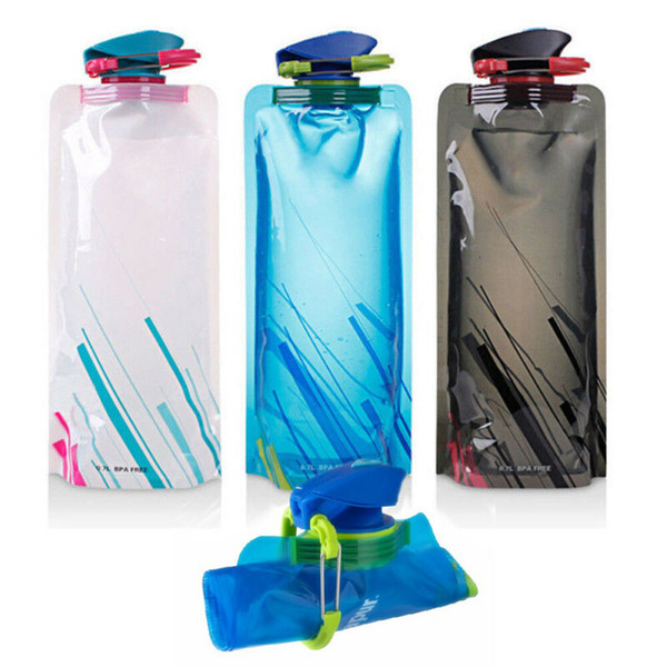 Collapsible Foldable Reusable Sport Water Bottle Silicone Travel Kettle BPA Free