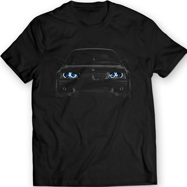 2019 New Cool Tee Shirt Germany Car E46 T Shirt Blue Angel Eyes Headlights Black T Shirt Fashion Cotton T