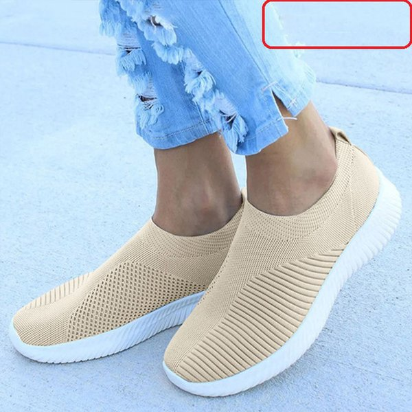 Femmes Sneakers Vulcanized Chaussures Slip On Air Mesh Flats Respirant Casual Chaussette Chaussure Automne Femme Chaussures