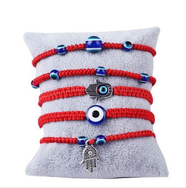 Lucky Kabbalah Red String Thread Hamsa Bracelets Blue Turkish Evil Eye Charms Women Handmade Fatima Friendship Jewelry