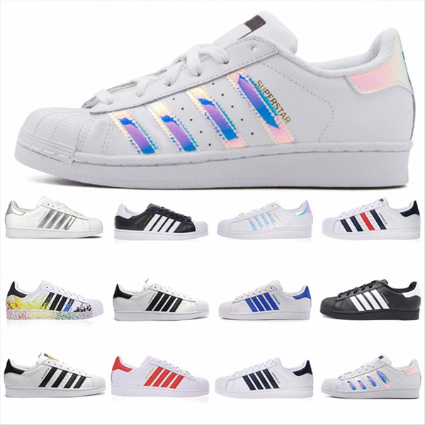 Adidas Originals Superstar Weiß Hologram Iridescent Junior Superstars der 80er Jahre Stolz Turnschuhe Super Star Frauen Männer Sport Laufschuhe 36-45