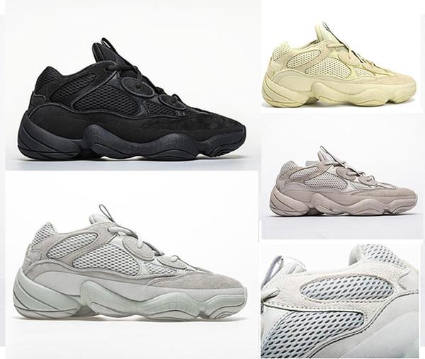 best selling HOT Kanye West 500 Men Women Running Shoes Black Salt Rat 500 Sport Sneakers Super Moon Yellow Designer Shoes Desert With Box